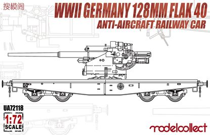Picture of WWII Germany 128mm Flak 40  Anti-Aircraft Railway Car