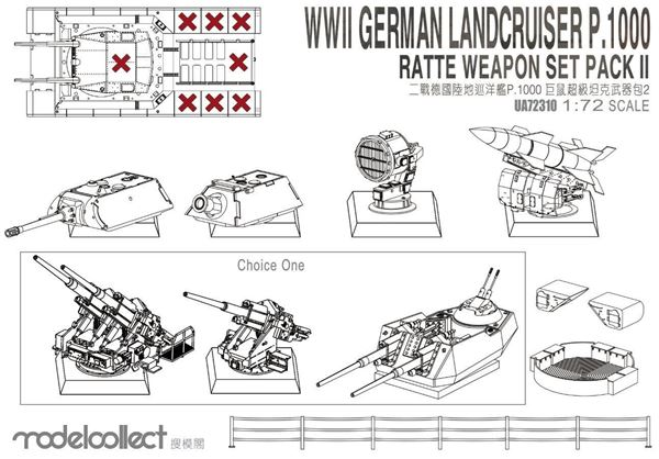 Picture of WWII Germany landcruiser p.1000 ratte weapon set pack II